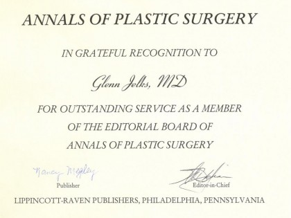 Editor, Annals of Plastic Surgery